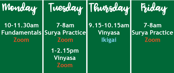 YogaMorphic Timetable September 2020